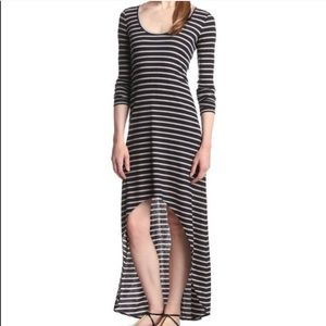 BCBGMAXAZRIA Stripe High Low Maxi Dress